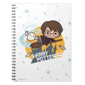 Cartoon Harry and Hedwig Flying Past Hogwarts Notebook