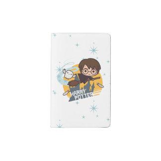Cartoon Harry and Hedwig Flying Past Hogwarts Pocket Moleskine Notebook