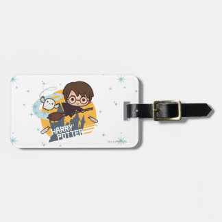 Cartoon Harry and Hedwig Flying Past Hogwarts Tags For Bags