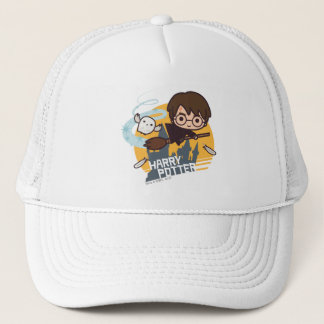 Cartoon Harry and Hedwig Flying Past Hogwarts Trucker Hat