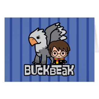 Cartoon Harry Potter and Buckbeak Card