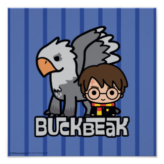 Cartoon Harry Potter and Buckbeak Poster