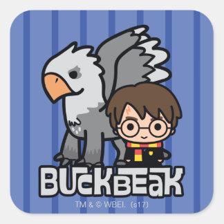 Cartoon Harry Potter and Buckbeak Square Sticker