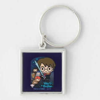 Cartoon Harry Potter Chamber of Secrets Graphic Keychain
