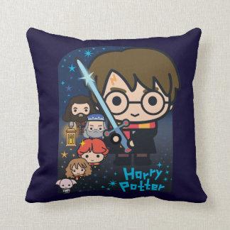 Cartoon Harry Potter Chamber of Secrets Graphic Throw Pillow