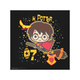 Cartoon Harry Potter Quidditch Seeker Canvas Print