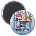 Cartoon Harry, Ron, & Hermione Flying In Woods 2 Inch Round Magnet