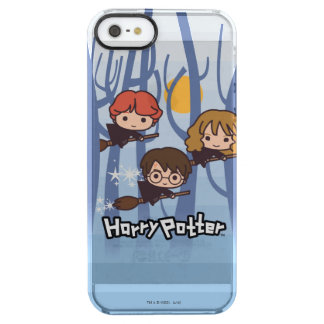 Cartoon Harry, Ron, & Hermione Flying In Woods Clear iPhone SE/5/5s Case
