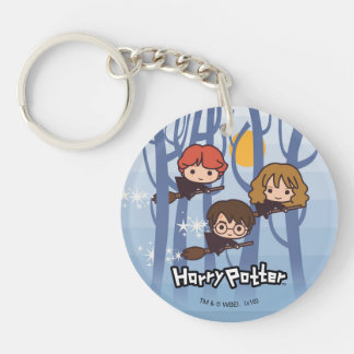 Cartoon Harry, Ron, & Hermione Flying In Woods Double-Sided Round Acrylic Keychain