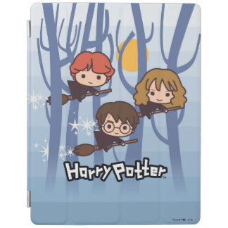 Cartoon Harry, Ron, & Hermione Flying In Woods iPad Cover
