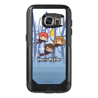 Cartoon Harry, Ron, & Hermione Flying In Woods OtterBox Samsung Galaxy S7 Case