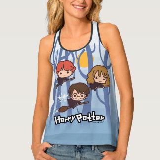 Cartoon Harry, Ron, & Hermione Flying In Woods Tank Top