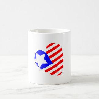 cartoon heart shaped American flag white cup Classic White Coffee Mug