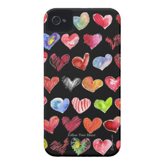 Cartoon Hearts on Black -BlackBerry Bold 9700/9780 Case-Mate iPhone 4 Cases