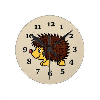 Cartoon Hedgehog Round Clock