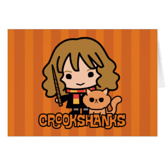 Cartoon Hermione and Crookshanks Card