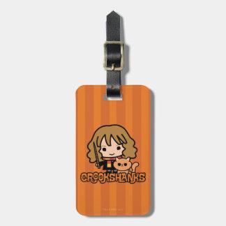 Cartoon Hermione and Crookshanks Luggage Tag