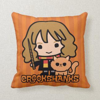 Cartoon Hermione and Crookshanks Throw Pillow