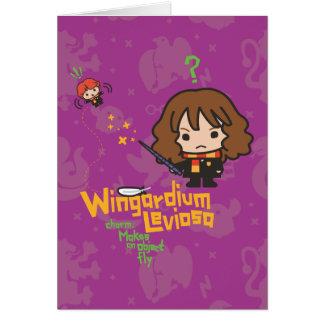 Cartoon Hermione and Ron Wingardium Leviosa Spell Card