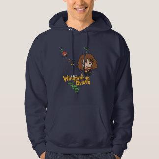 Cartoon Hermione and Ron Wingardium Leviosa Spell Hoodie
