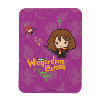 Cartoon Hermione and Ron Wingardium Leviosa Spell Magnet