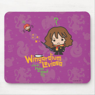 Cartoon Hermione and Ron Wingardium Leviosa Spell Mouse Pad
