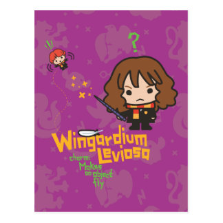 Cartoon Hermione and Ron Wingardium Leviosa Spell Postcard