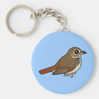 Cartoon Hermit Thrush Keychain