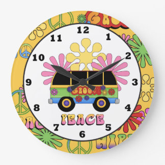 Cartoon Hippie fun wall clock