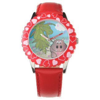 Cartoon Hippo At The Beach Kids Watch