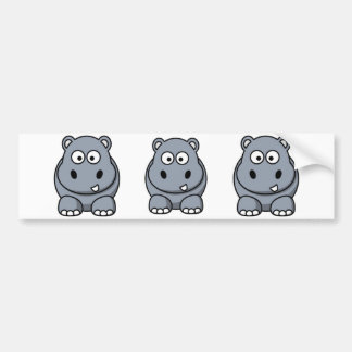 Cartoon Hippo Bumper Sticker