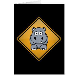 Cartoon Hippo Warning Sign Card