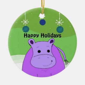 Cartoon Hippo with Christmas Decorations Round Ceramic Ornament