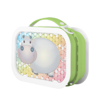 Cartoon Hippopotamus and Rainbow Polka Dots Lunch Box