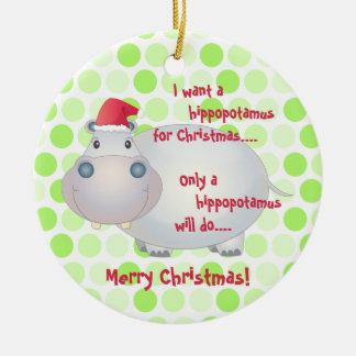 Cartoon Hippopotamus Christmas Ornament