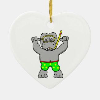 Cartoon Hippopotamus Snorkeling in Bathing Suit Ceramic Heart Ornament