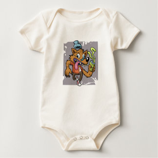 Cartoon hipster wolf with soda baby bodysuit