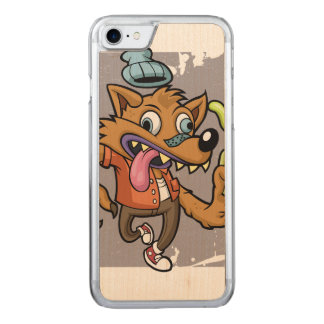 Cartoon hipster wolf with soda carved iPhone 7 case