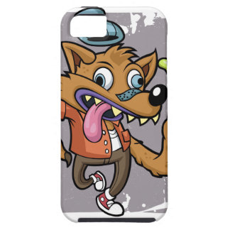 Cartoon hipster wolf with soda iPhone 5 case