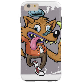 Cartoon hipster wolf with soda tough iPhone 6 plus case