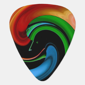 Cartoon Hitchcockian Face Abstract Guitar Pick