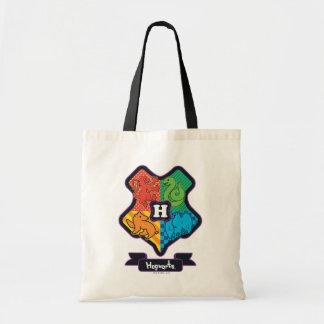 Cartoon Hogwarts Crest Tote Bag