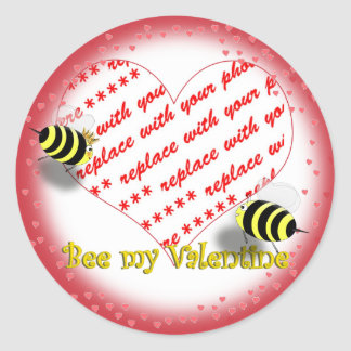 "Cartoon Honey Bees ""Bee My Valentine"" Photo Frame Classic Round Sticker"