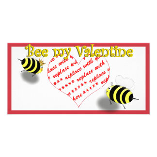 "Cartoon Honey Bees ""Bee My Valentine"" Photo Frame Photo Card Template"