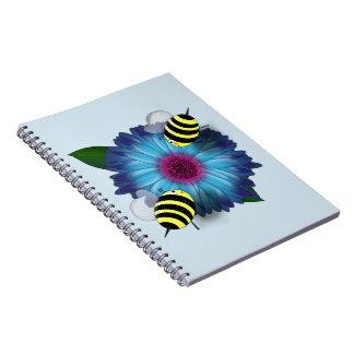 Cartoon Honey Bees Meeting on Blue Flower Notebook