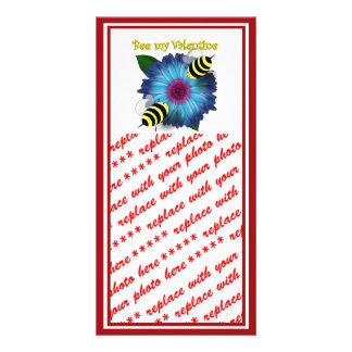 Cartoon Honey Bees Meeting on Blue Flower Custom Photo Card