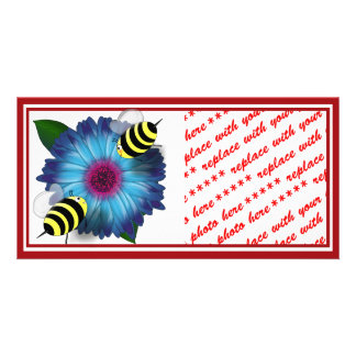 Cartoon Honey Bees Meeting on Blue Flower Photo Greeting Card