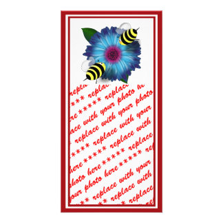Cartoon Honey Bees Meeting on Blue Flower Photo Cards
