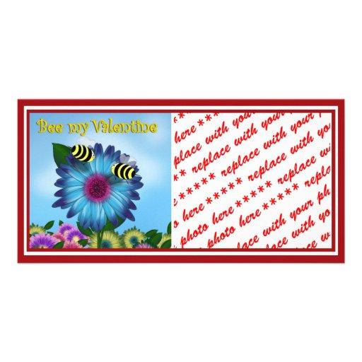 Cartoon Honey Bees Meeting on Blue Flower Photo Card Template