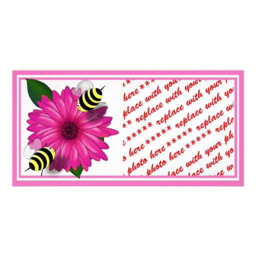 Cartoon Honey Bees Meeting on Pink Flower Photo Card